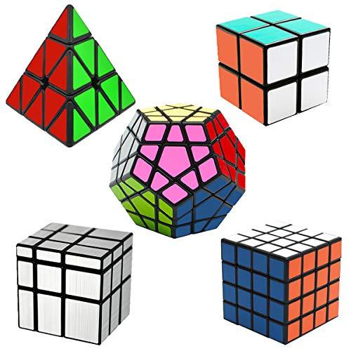 EASEHOME Cubo Magico Speed Puzzle Cube Set Megaminx + Pyraminx + Specchio + 2x2x2 + 4x4x4, 5 Pack Magic Cubes con PVC Adesivo per Bambini e Adulti, Nero