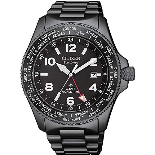 Reloj de Cuarzo Citizen Promaster GMT, Eco-Drive B877, 42 mm, Negro, BJ7107-83E