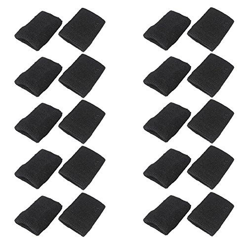 Mallofusa 10 Pack Colorful Sports Basketball Football Absorbent Wristband Party Outdoor Activity (Black)