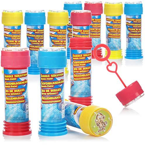 com-four 12x pompas de jabón para niños, Cada Vial de 50 ml - líquido de Burbuja con Palo - Regalo de Fiesta de cumpleaños para niños - [la selección varía] (050ml - 12 Piezas)