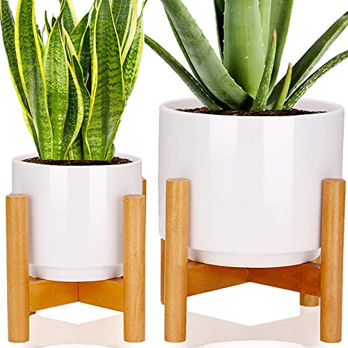 Set of 2 Mid Century Ceramic Planters Pots with Wood Plant Stands, HFHOME 7 & 5 inch Dia Modern White Large Flower Pots with Drainage and a Plug, for Indoor Home Decor Tabletop Outdoor Garden Cactus