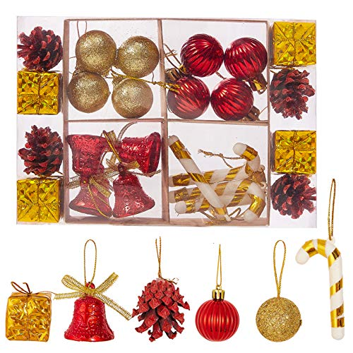 Christmas Balls Ornaments 15-50 Pack for Xmas Christmas Tree Theme Assorted Shatterproof Christmas Ball Ornament Set Decorations Festive Party Pendant Decoration (Colorful Ornaments)