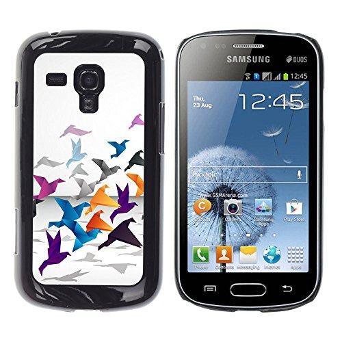 // PHONE CASE GIFT // Duro Estuche protector PC Cáscara Plástico Carcasa Funda Hard Protective Case for Samsung Galaxy S Duos S7562 / Grulla de origami /
