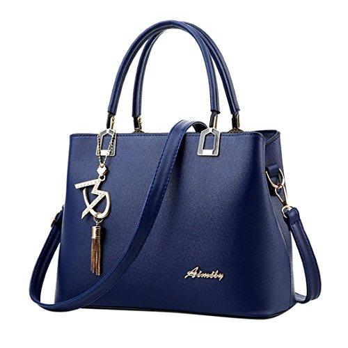 TUDUZ Damen Handtaschen Schulterbeutel Frauen PU Leder Designer Messenger Bag Umhängetasche (Blau)