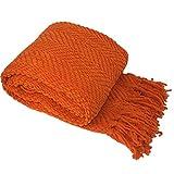 Home Soft Things Tweed Throw Blanket, 50' x 60', Orange