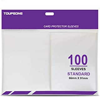 Toupeone 100 Count Card Sleeves for Standard Pokemon Cards, Magic The Gathering MTG, Animal Crossing Amiibo, Clear Plastic...