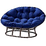 Papasan Chair with Cushion and Frame Navy Bench 2 Adults Double Sturdy Steel Frame Faux Wicker Accents Tufted Polyester Cushion Lounge Chair Patio Garden Relaxing Pillow Boho Style & eBook by NAKSHOP