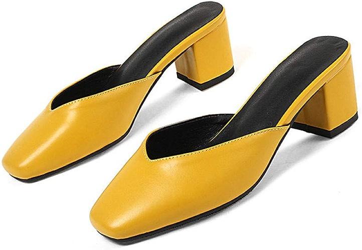 VIVIOO Grande Taille 44 Femmes Chaussures Couleur Unie Chaussures d'été Glisser sur des Talons voiturerés Chaussures Femmes Occasionnels Mules Chaussures Femme