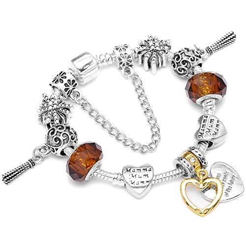 TOUSHI Heart To Heart Pendant Charm Bracelet For Women Crystal Bead Fit European Diy Fine Beacelet Jewelry Wedding Gift