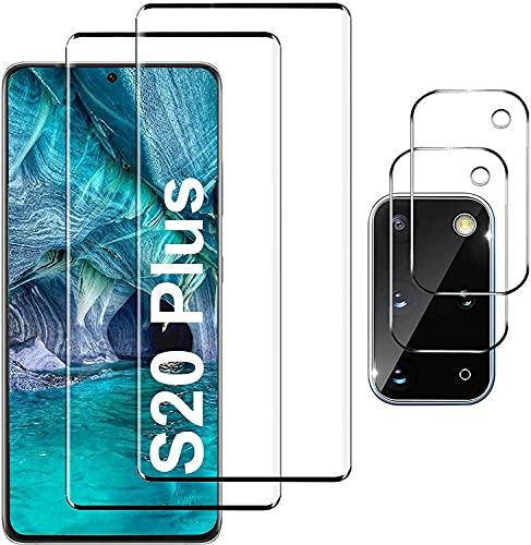 Galaxy S20 Plus 5G Screen Protector include 2 pezzi di protezione per schermo in vetro temperato con 2 pezzi di protezione per obiettivo in vetro temperato per fotocamera(6,7 pollici)
