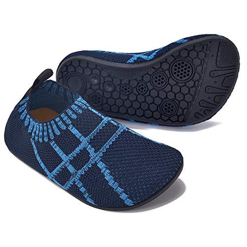 MARITONY Kinder Hausschuhe Mädchen Jungen Anti-Rutsch Leichte Sohle Kleinkinder Schuhe Baby Slipper Unisex,Dunkelblau,28EU