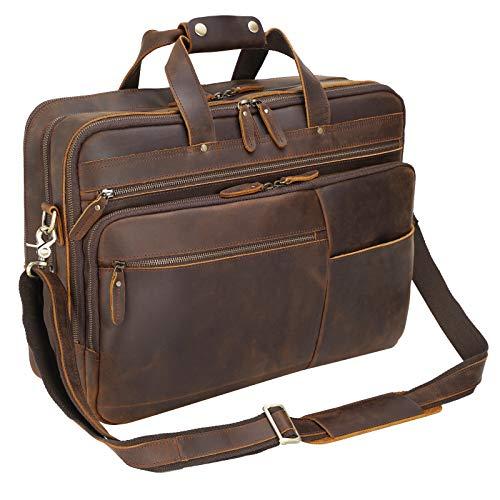 Polare 18' Full Grain Leather Briefcase For Men Business Travel Case Messenger Bag Fits 17.3' Laptop Large