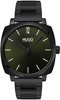 Hugo Boss Men's Green Dial Ionic Plated Black Steel Watch - 1530081