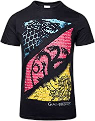 Game Of Thrones Juego de Tronos Diagonal Sigilos Camiseta Negro