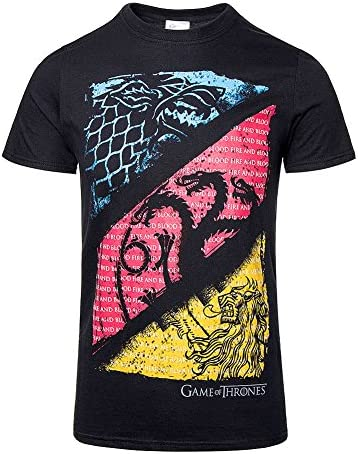 Game Of Thrones Juego de Tronos Diagonal Sigilos Camiseta Negro