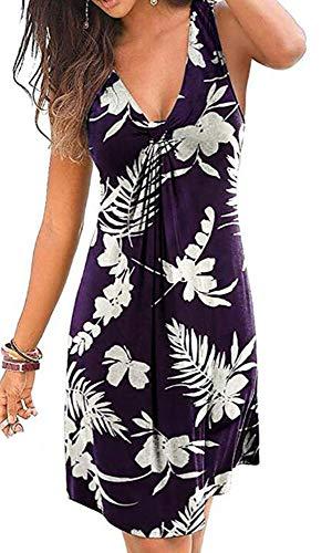 Dames mouwloze bedrukte jurk Zomerfrontknoop Bohemian Floral Beach Midi-jurken