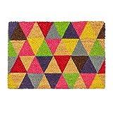 Nicola Spring Non-Slip Coir Door Mat - 60 x 90cm - Triangles - PVC Backed Welcome Mats Doormats