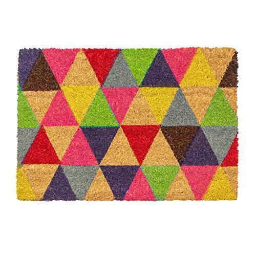 Nicola Spring Felpudo Antideslizante - Diseño de triángulos - Fibra de Coco con Reverso de PVC - 90 x 60cm