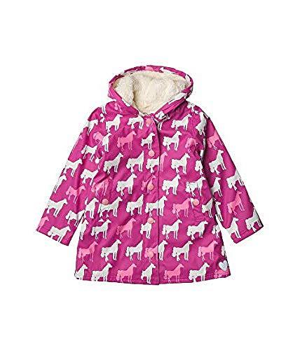 Hatley Mädchen Sherpa Lined Splash Jackets Regenjacke, Farbwechsel Pferd Silhouetten, 10 Years