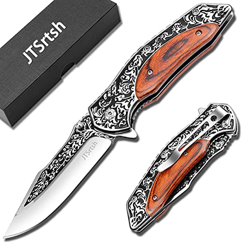 Couteau Pliant,Couteau de Poche à Une Main avec Rétro Décoratif de Manche en Bois gravé,Couteau de Survie de Plein Air pour faire de la pêche ou le Camping (Marron)
