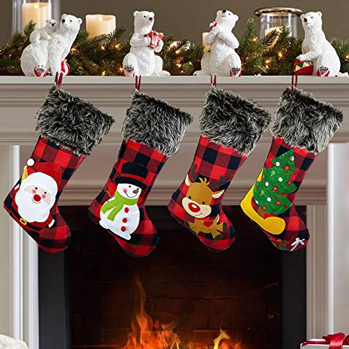 KHDZ Christmas Stockings 4 Pack, 18 Inch Plaid Classic Personalized Large Stocking Santa, Snowman, Christmas Tree, Reindeer Xmas Character for Family Holiday Christmas Party Decorations