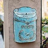 cassetta postale con cilindro portagiornali + opaca, ruvida + con spazio per targhetta + finestra + richiudibile + materiale di fissaggio 39.5x27.5cm blu.