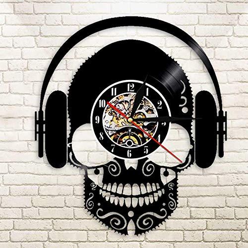 DAF Microfoon-koptelefoon met doodskopmotief, voor DJ, wand, schurende schedel, voor hoofdtelefoon, decoratie
