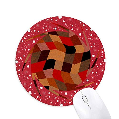 Diamond Polygon Fliesen Farbige Muster Rad Maus Pad Runde Red Rubber