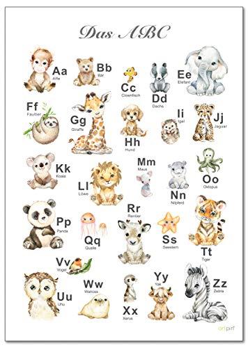 artpin® ABC Poster Kinderzimmer Alphabet Tierposter - Lernposter Schulanfang 1.Klasse DIN A3 Weihnachtsdeko - Bilder Safari Mädchen Junge Baby Tiere - Wald Dschungel P69