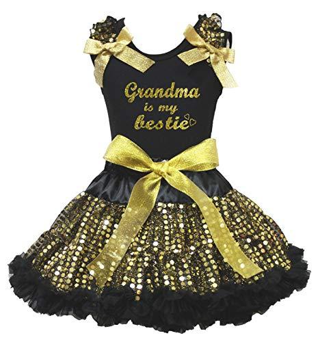 Petitebelle Grandma is My Bestie - Falda de Lentejuelas Doradas (1 a 8 años)
