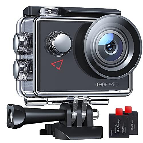 AC420 Action Cam 14MP WI-Fi Full HD 1080P wasserdichte Sport Action Kamera 30M Unterwasserkamera mit 2 Zoll LCD-Bildschirm 170 Weitwinkel-Objektiv 2 Akkus und Montage-Zubehör-Kits