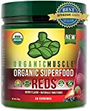 Certified Organic Superfood Reds Powder | Reds Juice Supplement for Detox, Energy, Focus, Digestion, Metabolic Boost & Anti-Aging | Vegan, Non-GMO, Berry Flavor, 30 Day Supply | ORGANIC MUSCLE