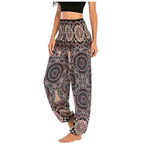 GenericBrands Mujer Hippies Pantalones Bolsillos Estampados Yoga Pants Pantalones Sueltos Pantalones Bohemios