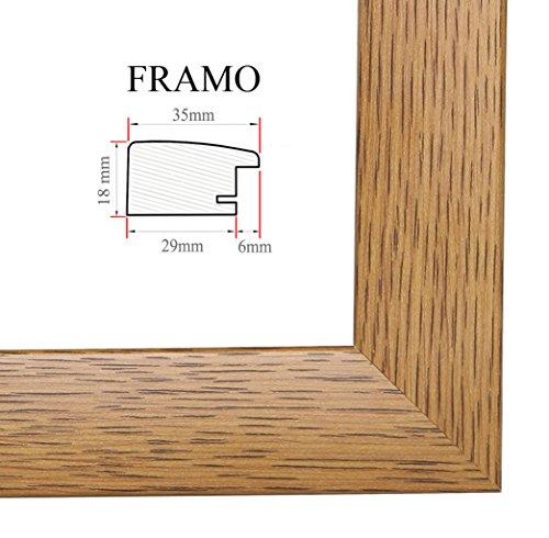 FRAMO 35mm Cadre Photo sur Mesure 40 x 58 cm (Chêne Rustique), Cadre Fait Main en MDF doté d'Un Verre synthétique antireflet, Largeur du Cadre : 35 mm, Dimensions extérieures : 45,8 x 63,8 cm