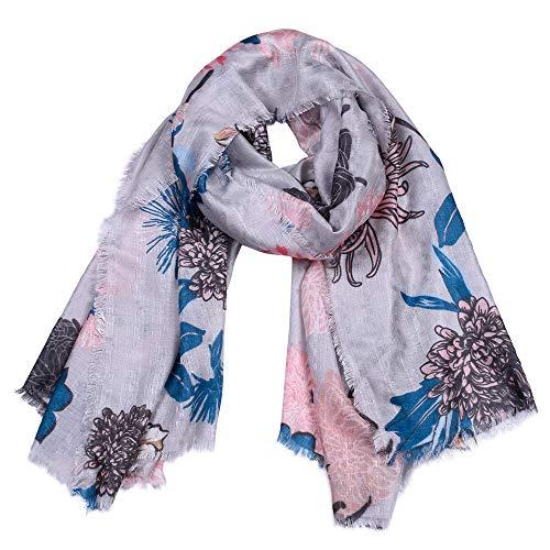 H/A CRCOG Primavera y otoño Nueva Bufanda de algodón, Demolición de Ladies Mantón de impresión de Flores CRCOG (Color : Grey, Size : 180CM)