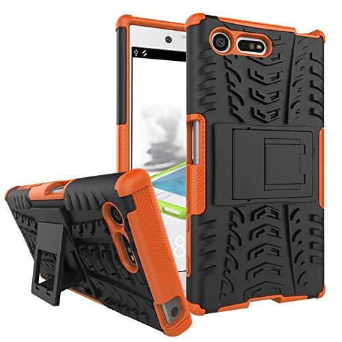 pinlu Funda para Sony Xperia X Compact (4.6 Pulgada) Smartphone Doble Capa Híbrida Armadura Silicona TPU + PC Armor Heavy Duty Case Duradero Protección Neumáticos Patrón Naranja