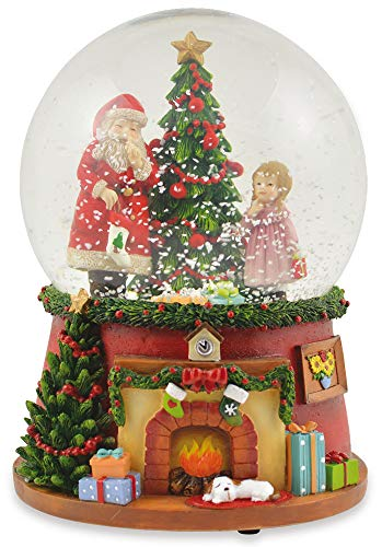 """Riffelmacher Spieluhr Schneekugel""""Weihnachtsmann mit Weihnachtsbaum und Kamin"""" 72284 - Schneeflocken und Musik - 14x10cm - Wunderschöne Glaskugel mit Dekoration Weihnachten"""