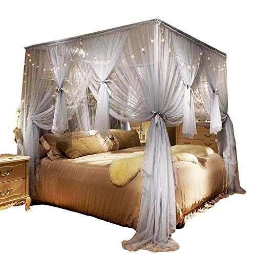 Nattey 4 Corners Post Canopy Bed Curtain for Girls Boys & Adults - 4 Opening Cozy Bed Drape Mosquito Net Bedroom Decoration (Full, Gray)
