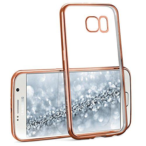 MoEx® Transparente Silikonhülle im Chrome-Style kompatibel mit Samsung Galaxy S6   Flexibler Schutz mit Hochglanz Metallic Rahmen, Rosé-Gold