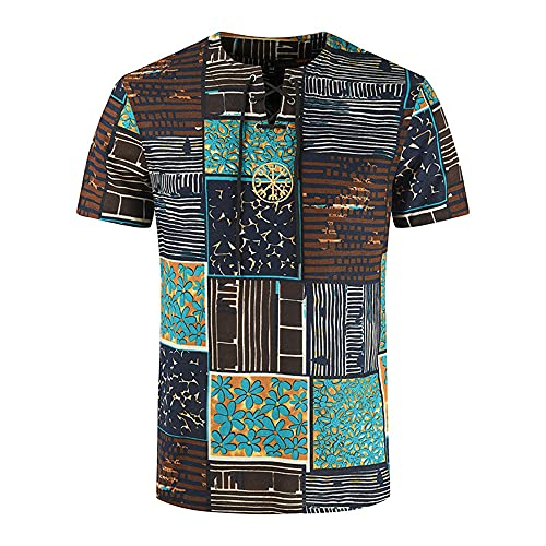 Shirt Hombre Transpirable Estilo Hip Hop Estampado Vintage Hombres Shirt Ocio Rayas Cordones Moda Manga Corta Hombres T-Shirt Playa De Arena Hawaii Hombres Streetwear YC04 XL