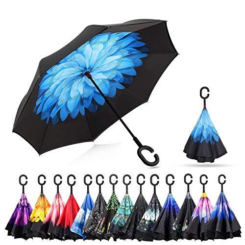 Sumeber Double Layer Reverse Regenschirm mit C Griff Schützen vor Sturm Wind Regen und UV-Strahlung Innovativer Regenschirm (Blauer Lotus)