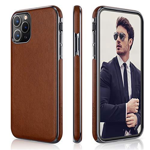 LOHASIC - Funda fina para iPhone 11 Pro, de piel sintética, elegante, TPU, suave, antideslizante, antiarañazos, compatible con iPhone 11 Pro (2019) de 5.8 pulgadas, color marrón