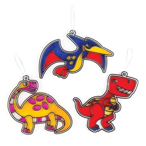 """Baker Ross Suncatcher-Bastelsets """"Dinosaurier"""" für Kinder zum Dekorieren – Bastelset für Kinder (8 Stück)"""