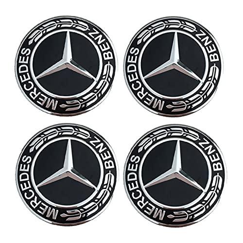 MKDLB 4 Piezas 75mm Tapas centrales para Llantas,Rueda de Coche Centro de llanta Tapas de Cubo Insignia Cubierta para Mercedes-Benz A/B/C/E/GLC/S Clase
