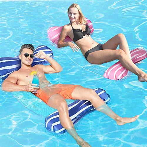 Gifort Wasserhängematte, 4 In 1 Schwimmmatratze Floating Lounge Stuhl Luftmatratze für Erwachsene Whirlpool Schwimmbad Strand Sommer Spaß, Rosa & Blau
