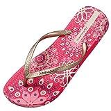 Hotmarzz Tongs Femme Sandales ete Bohême Fleur Plage Flip Flops Mules Size 41 EU / 42 CN, Rouge