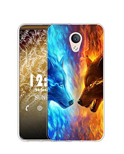 Sunrive Funda Compatible con Meizu M5 Note, Silicona Slim Fit Gel Transparente Carcasa Case Bumper de Impactos y Anti-Arañazos Espalda Cover(Q Lobo 4)