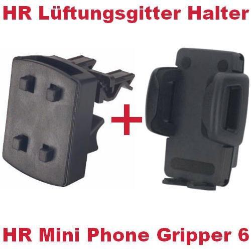 HR Richter Handy Smartphone KFZ Auto Halter Halterung Mini Phone Gripper und Lüftungsgitter Halter für Mobistel Cynus E4 E7 F10 Motorola Moto C E4 G5 G5s X4 Z2