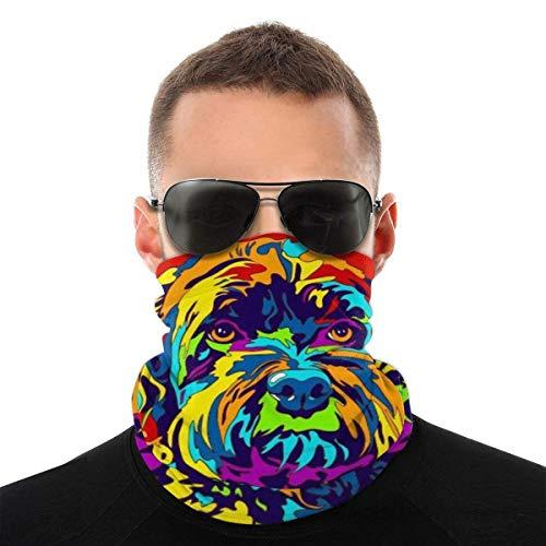 Summer Schnoodle - Máscara facial para perro, protección contra el polvo, sol, protección UV, polaina para el cuello, para correr, senderismo, motociclismo y ciclismo, color blanco y negro