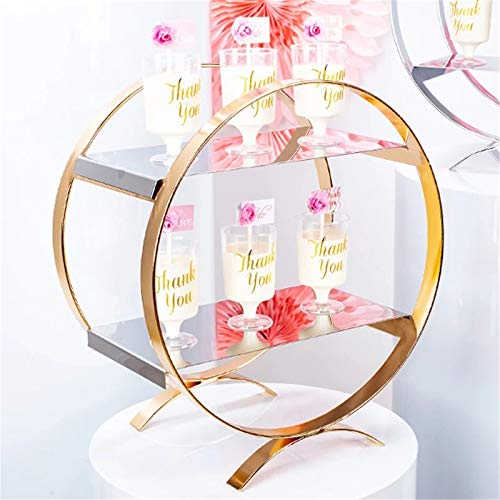 yaunli Cake stand Gold Mirror Round Metal Cake Stand Birthday Party Dessert Table Wedding Cake Stand Base Display Plate Home Decoration Reusable cake stand (Color : Gold, Size : 30x33cm)